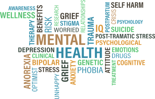Word diagram of different mental health conditions.